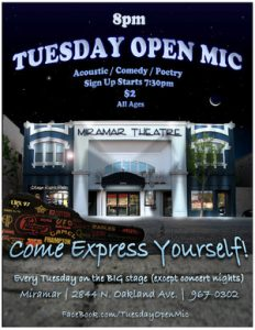 Tuesday Open Mic @ Miramar Theatre | Milwaukee | Wisconsin | United States